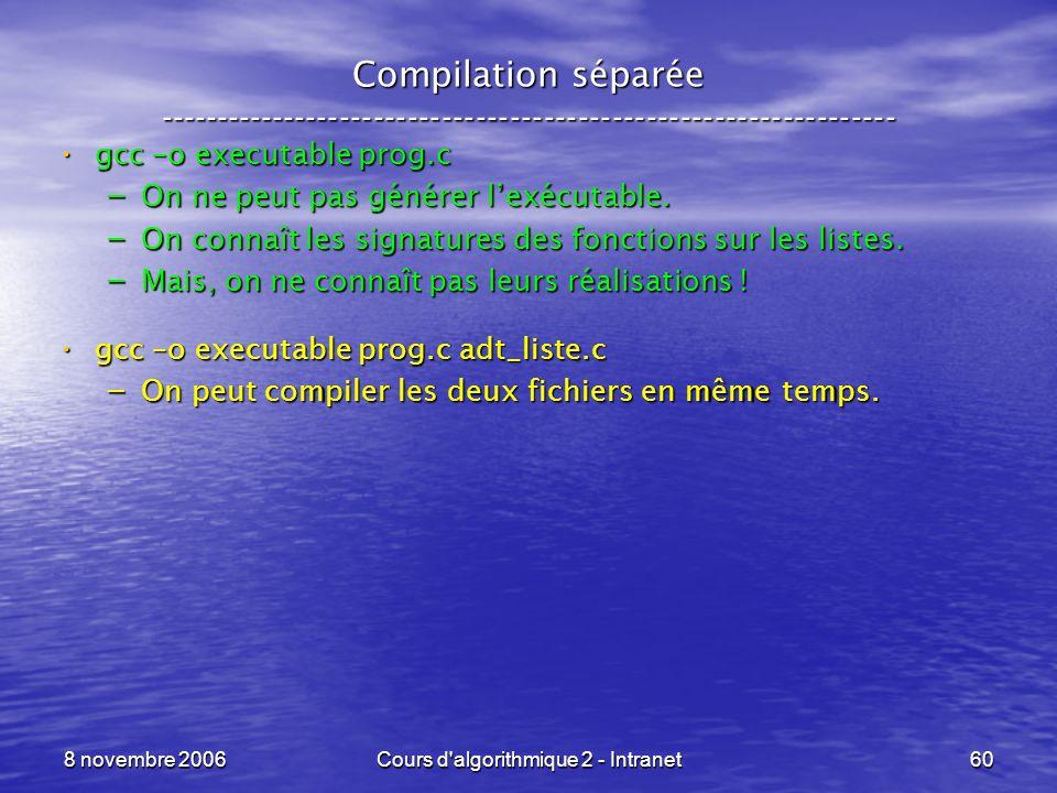 8 novembre 2006Cours d'algorithmique 2 - Intranet60 Compilation séparée ----------------------------------------------------------------- gcc –o execu