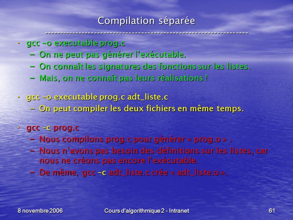 8 novembre 2006Cours d'algorithmique 2 - Intranet61 Compilation séparée ----------------------------------------------------------------- gcc –o execu