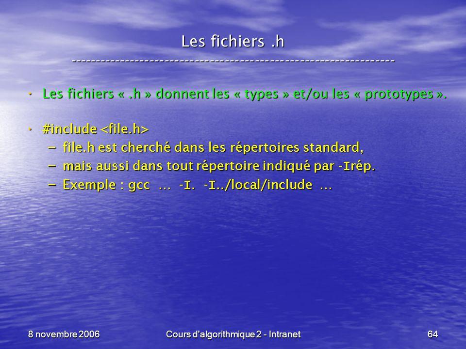 8 novembre 2006Cours d'algorithmique 2 - Intranet64 Les fichiers.h ----------------------------------------------------------------- Les fichiers «.h