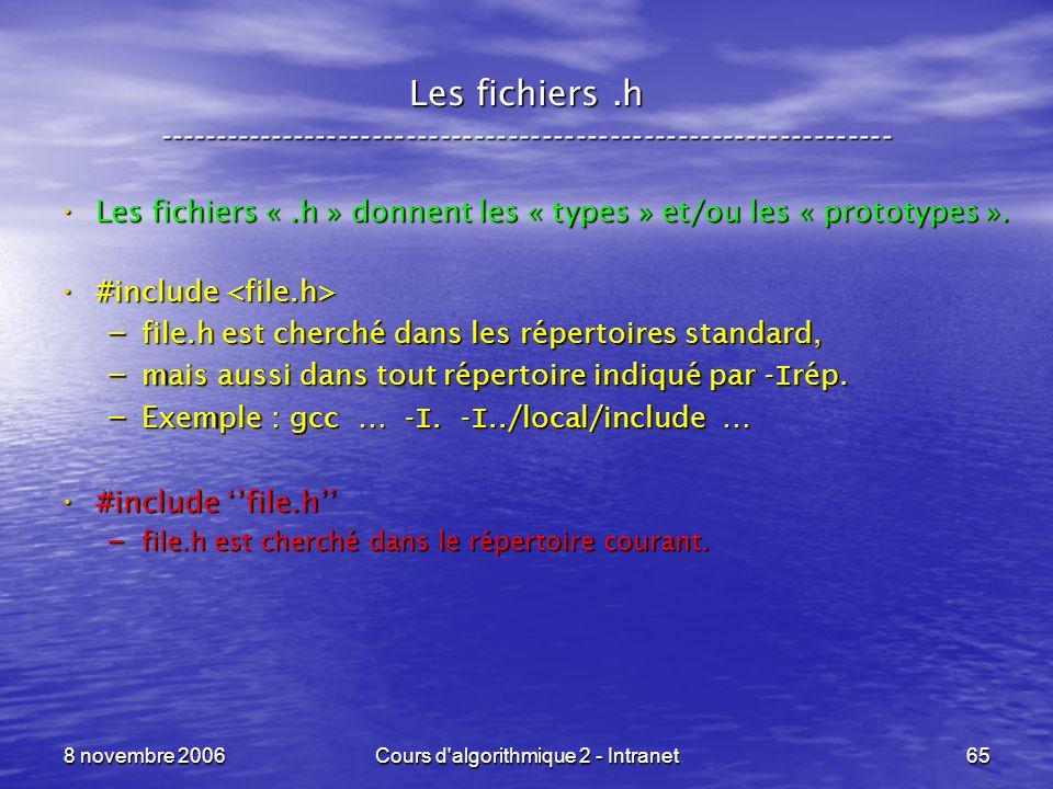 8 novembre 2006Cours d'algorithmique 2 - Intranet65 Les fichiers.h ----------------------------------------------------------------- Les fichiers «.h