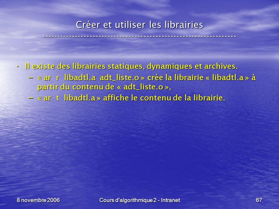 8 novembre 2006Cours d'algorithmique 2 - Intranet67 Créer et utiliser les librairies -----------------------------------------------------------------