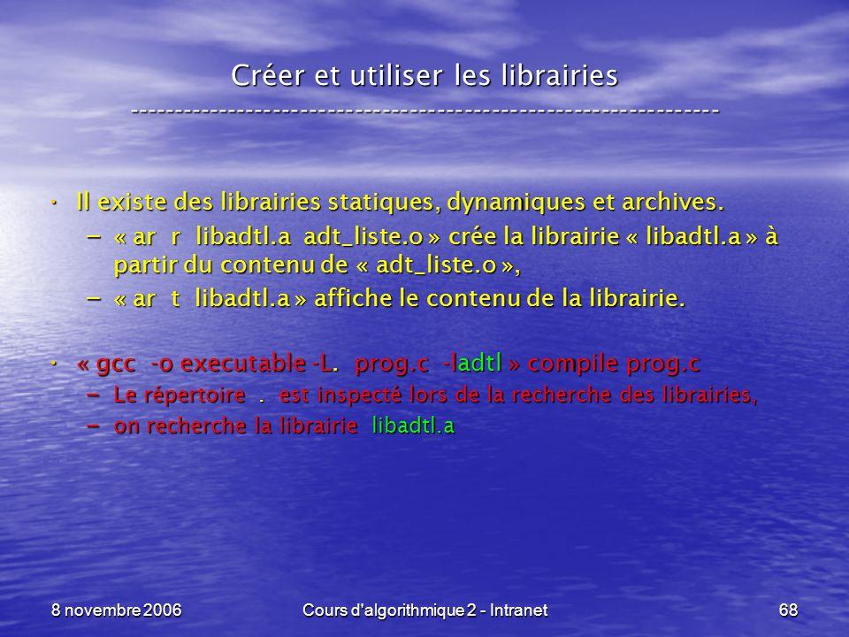 8 novembre 2006Cours d'algorithmique 2 - Intranet68 Créer et utiliser les librairies -----------------------------------------------------------------