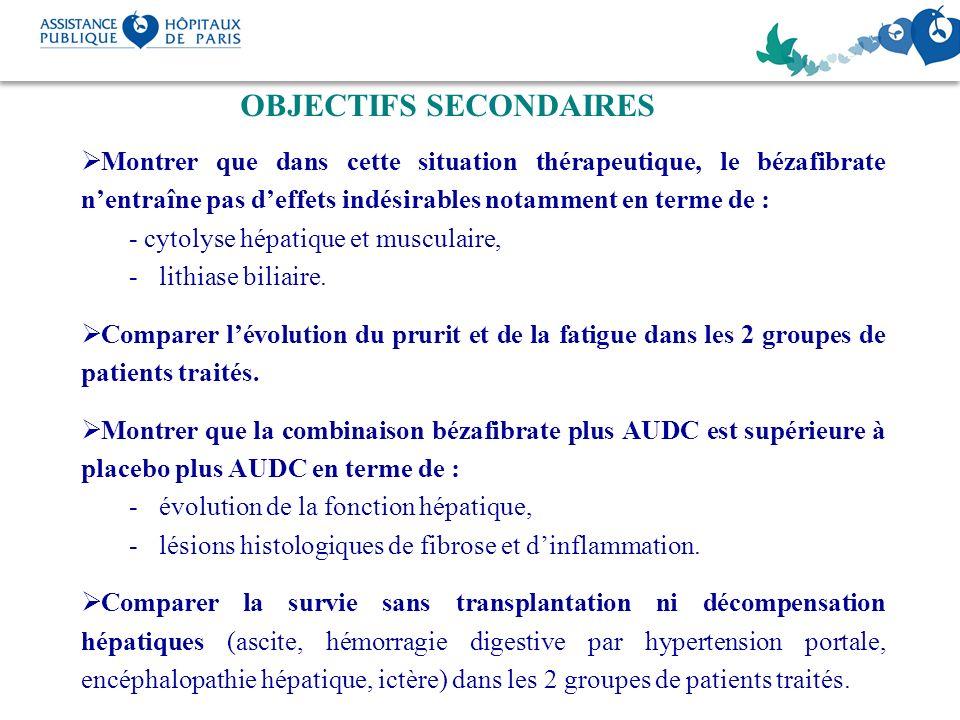 OBJECTIFS SECONDAIRES Montrer que dans cette situation thérapeutique, le bézafibrate nentraîne pas deffets indésirables notamment en terme de : - cyto