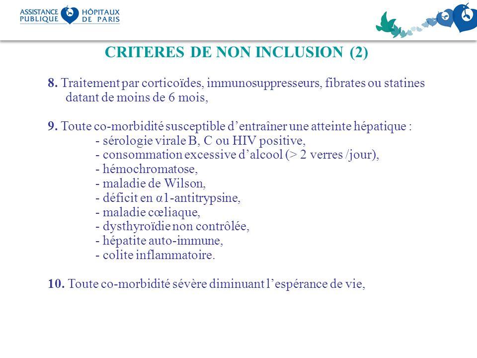 CRITERES DE NON INCLUSION (2) 8. Traitement par corticoïdes, immunosuppresseurs, fibrates ou statines datant de moins de 6 mois, 9. Toute co-morbidité