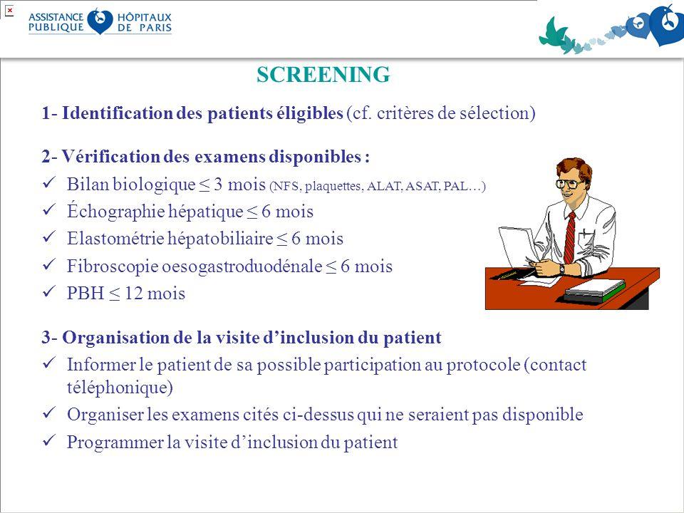 SCREENING 1- Identification des patients éligibles (cf. critères de sélection) 2- Vérification des examens disponibles : Bilan biologique 3 mois (NFS,