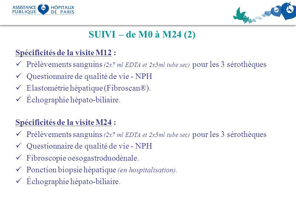 SUIVI – de M0 à M24 (2) Spécificités de la visite M12 : Prélèvements sanguins (2x7 ml EDTA et 2x5ml tube sec) pour les 3 sérothèques Questionnaire de