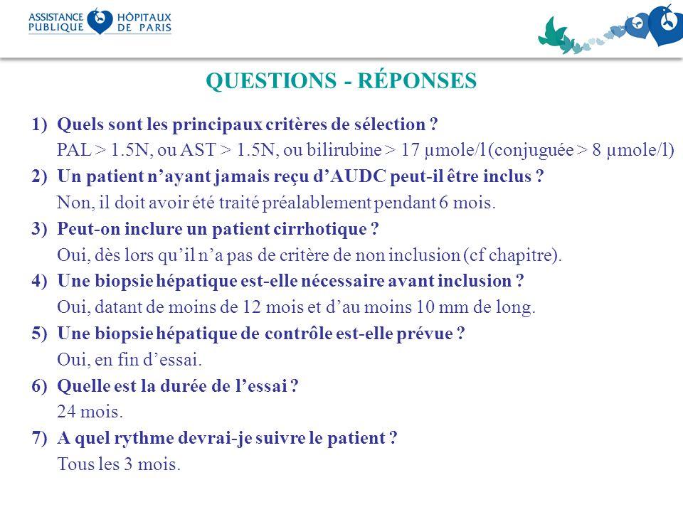 QUESTIONS - RÉPONSES 1)Quels sont les principaux critères de sélection ? PAL > 1.5N, ou AST > 1.5N, ou bilirubine > 17 µmole/l (conjuguée > 8 µmole/l)