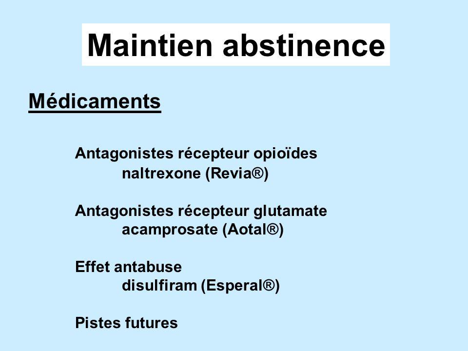 Maintien abstinence Médicaments Antagonistes récepteur opioïdes naltrexone (Revia®) Antagonistes récepteur glutamate acamprosate (Aotal®) Effet antabuse disulfiram (Esperal®) Pistes futures