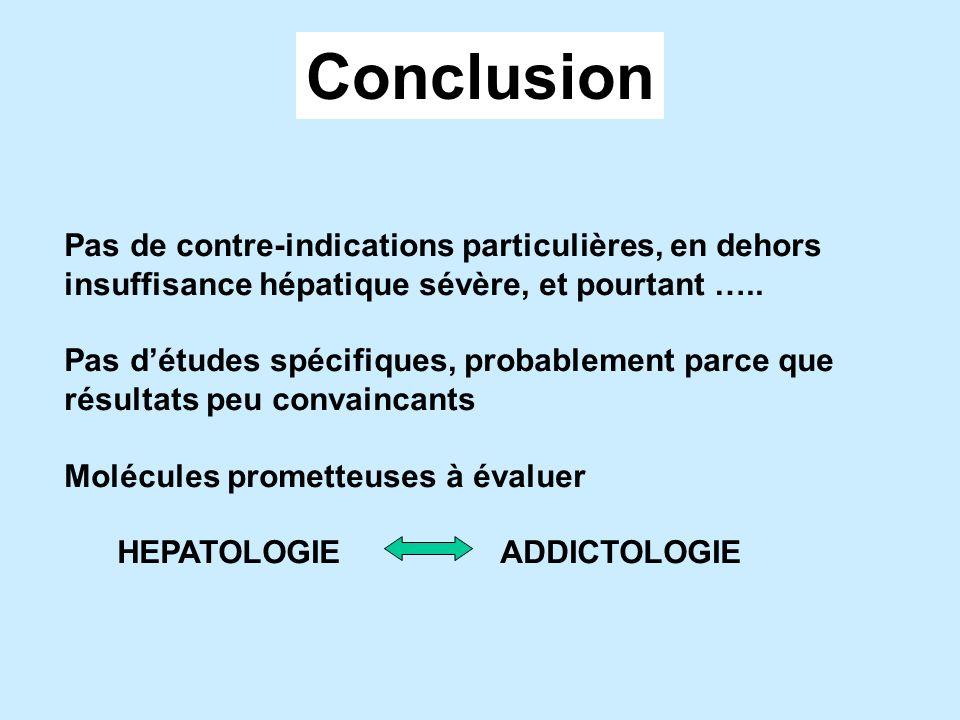 Conclusion Pas de contre-indications particulières, en dehors insuffisance hépatique sévère, et pourtant …..