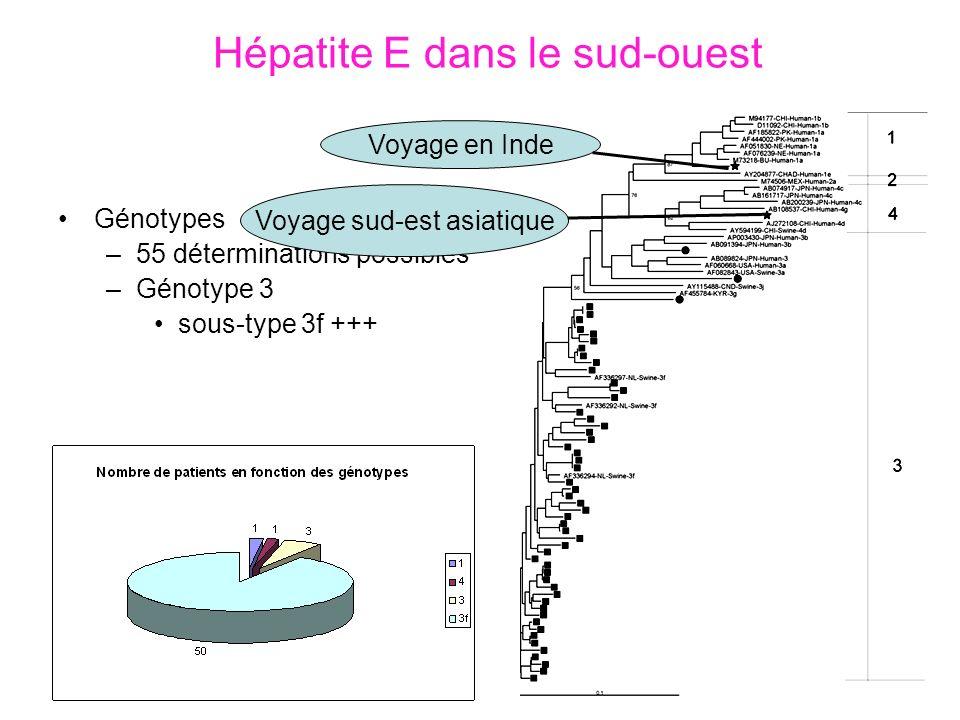 Hépatite E dans le sud-ouest Génotypes –55 déterminations possibles –Génotype 3 sous-type 3f +++ Voyage en Inde Voyage sud-est asiatique