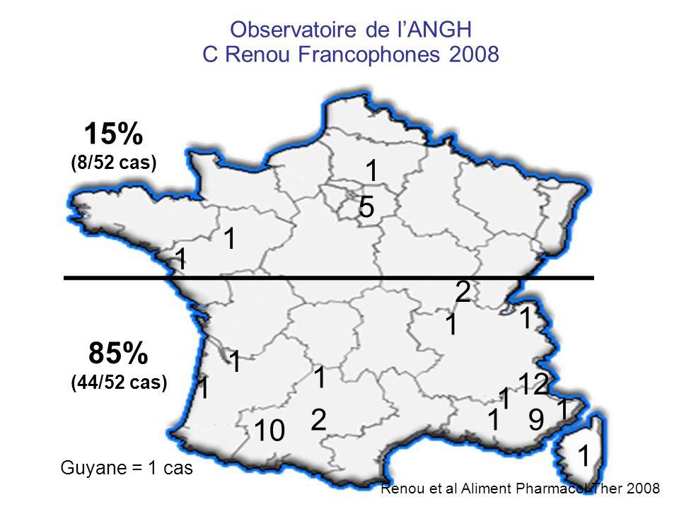 Observatoire de lANGH C Renou Francophones 2008 12 9 1 10 1 2 1 1 2 1 1 1 1 1 1 5 1 1 Guyane = 1 cas 85% (44/52 cas) 15% (8/52 cas) Renou et al Alimen