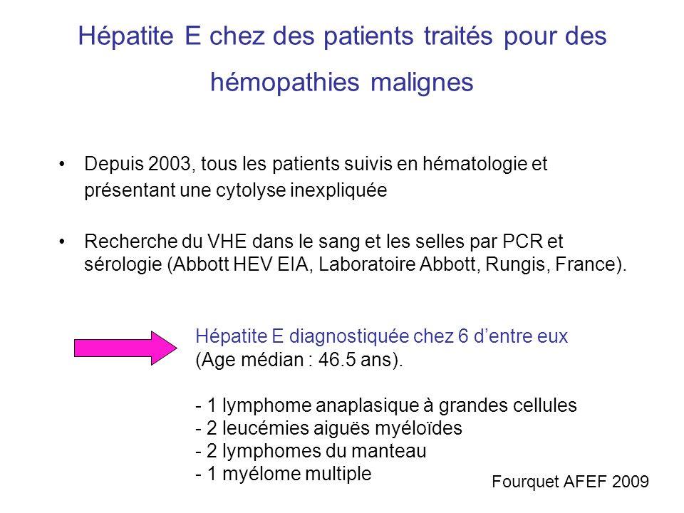 Hépatite E chez des patients traités pour des hémopathies malignes Depuis 2003, tous les patients suivis en hématologie et présentant une cytolyse ine