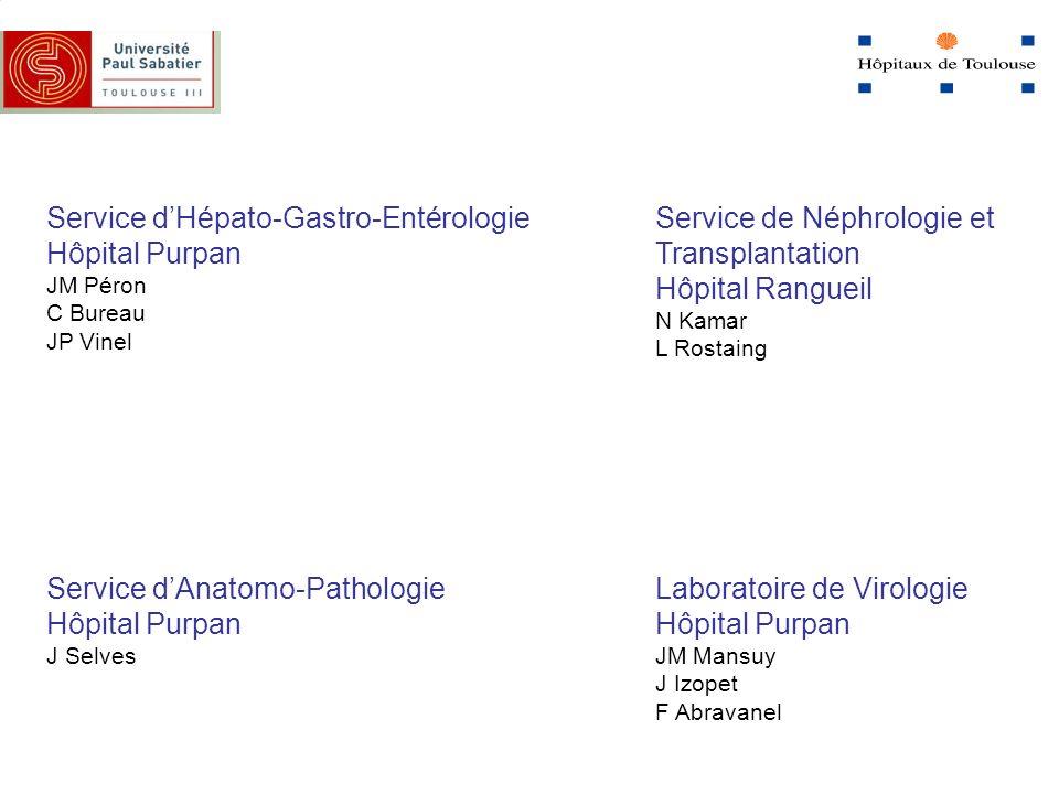 Service dHépato-Gastro-Entérologie Hôpital Purpan JM Péron C Bureau JP Vinel Service dAnatomo-Pathologie Hôpital Purpan J Selves Service de Néphrologi