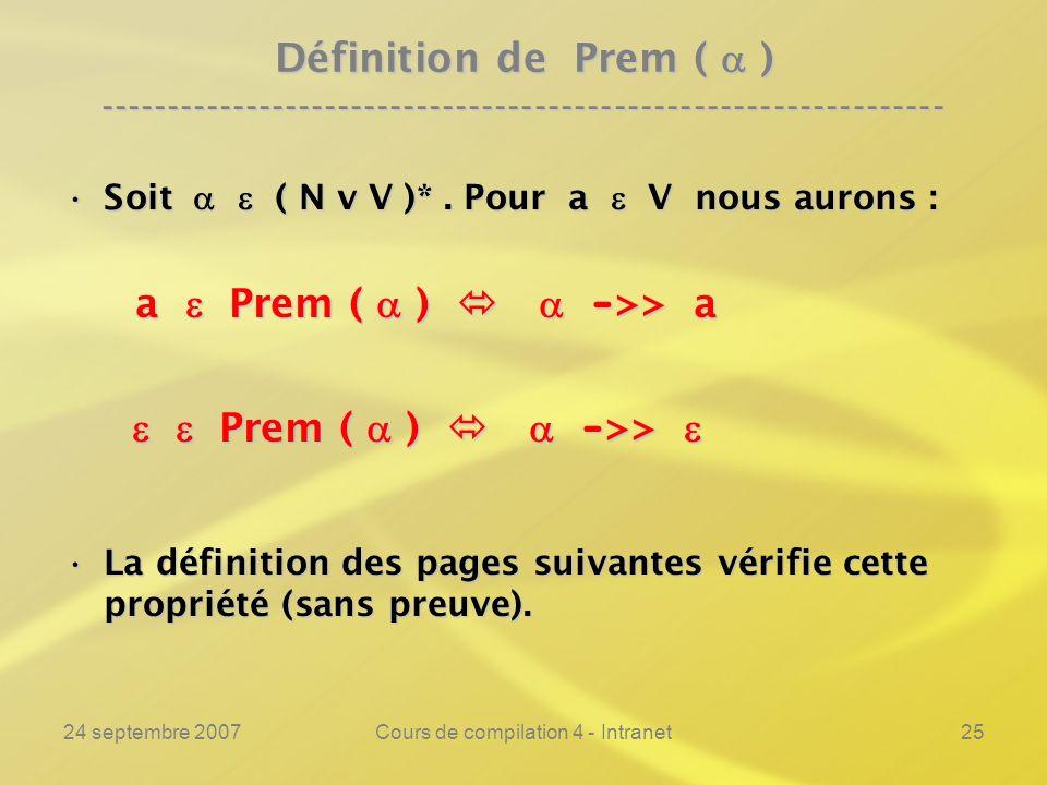 24 septembre 2007Cours de compilation 4 - Intranet25 Définition de Prem ( ) ---------------------------------------------------------------- Soit ( N v V )*.