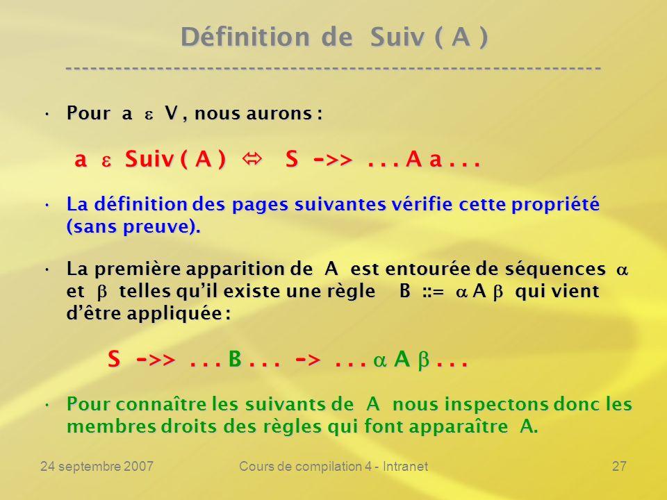 24 septembre 2007Cours de compilation 4 - Intranet27 Définition de Suiv ( A ) ---------------------------------------------------------------- Pour a V, nous aurons :Pour a V, nous aurons : a Suiv ( A ) S - >>...