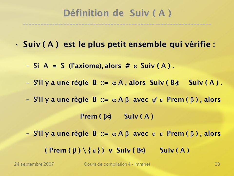 24 septembre 2007Cours de compilation 4 - Intranet28 Définition de Suiv ( A ) ---------------------------------------------------------------- Suiv ( A ) est le plus petit ensemble qui vérifie :Suiv ( A ) est le plus petit ensemble qui vérifie : –Si A = S (laxiome), alors # Suiv ( A ).