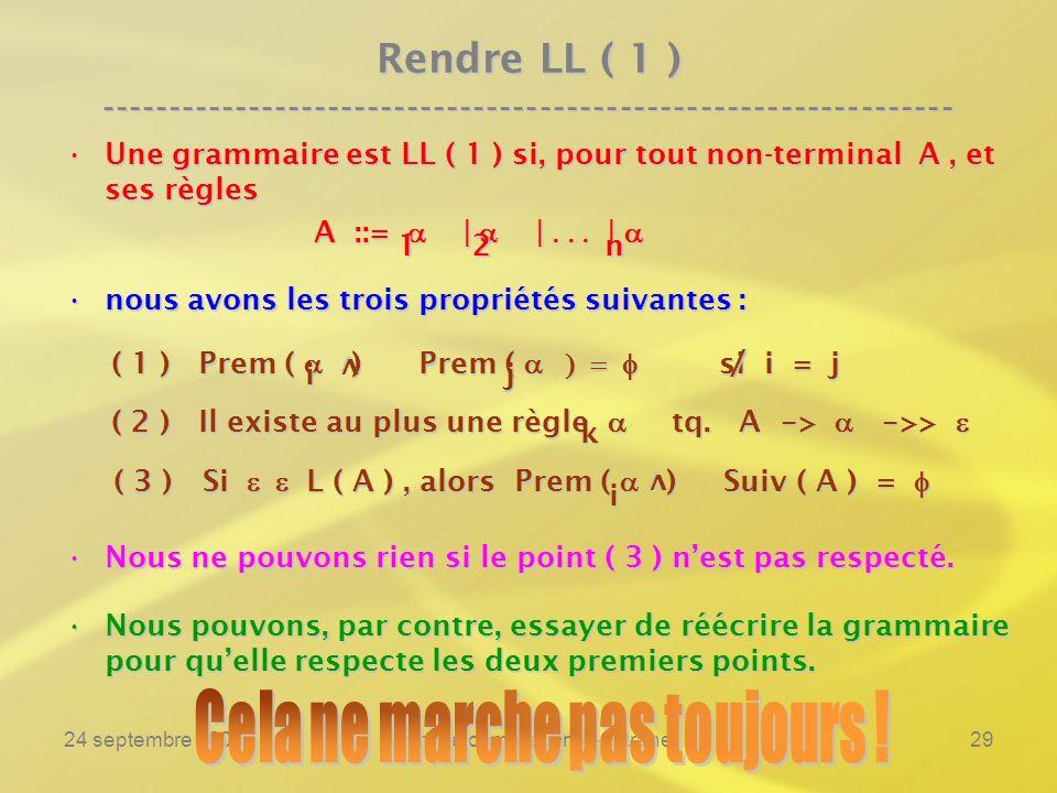 24 septembre 2007Cours de compilation 4 - Intranet29 Rendre LL ( 1 ) ---------------------------------------------------------------- Une grammaire est LL ( 1 ) si, pour tout non-terminal A, et ses règlesUne grammaire est LL ( 1 ) si, pour tout non-terminal A, et ses règles A ::= | | | A ::= | | | nous avons les trois propriétés suivantes :nous avons les trois propriétés suivantes : ( 1 ) Prem ( ) Prem ( si i = j ( 1 ) Prem ( ) Prem ( si i = j ( 2 ) Il existe au plus une règle tq.