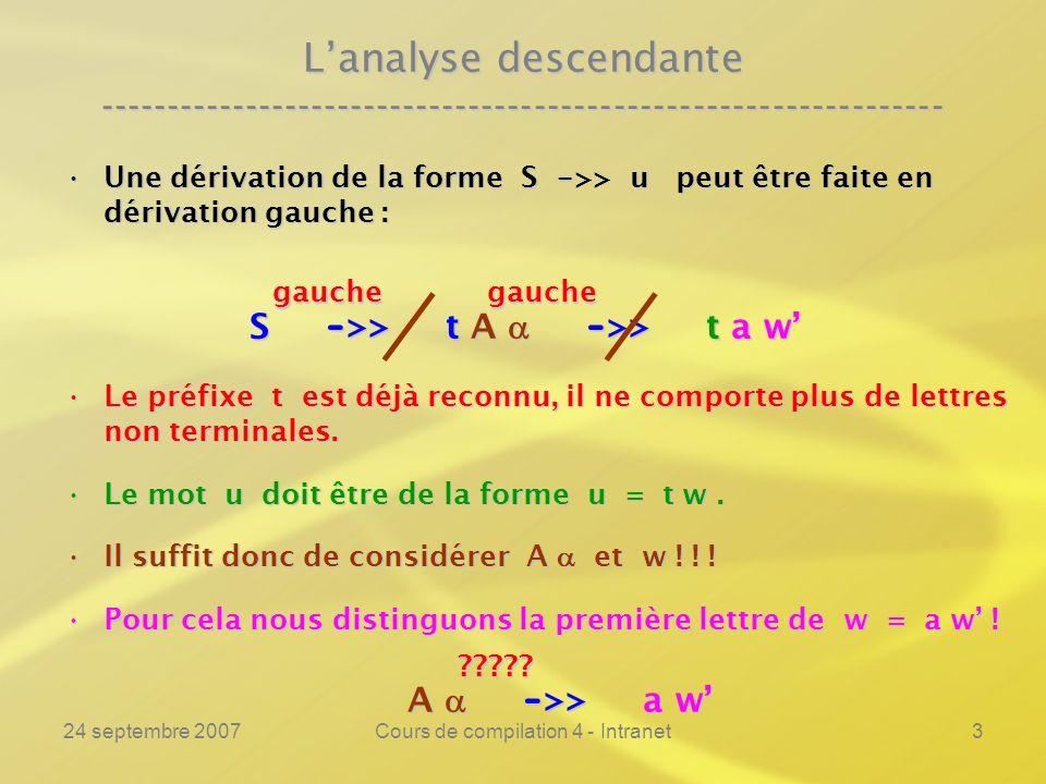 24 septembre 2007Cours de compilation 4 - Intranet3 Lanalyse descendante ---------------------------------------------------------------- Une dérivation de la forme S - >> u peut être faite en dérivation gauche :Une dérivation de la forme S - >> u peut être faite en dérivation gauche : S - >> t A - >> t a w S - >> t A - >> t a w Le préfixe t est déjà reconnu, il ne comporte plus de lettres non terminales.Le préfixe t est déjà reconnu, il ne comporte plus de lettres non terminales.