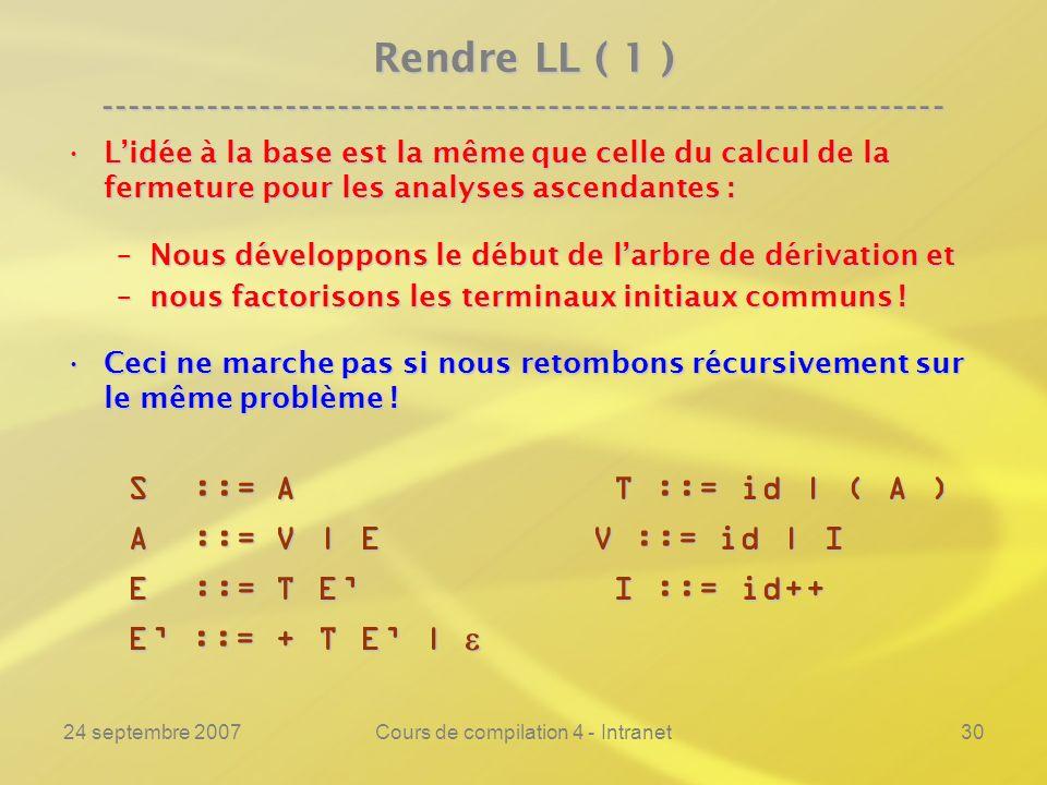 24 septembre 2007Cours de compilation 4 - Intranet30 Rendre LL ( 1 ) ---------------------------------------------------------------- Lidée à la base est la même que celle du calcul de la fermeture pour les analyses ascendantes :Lidée à la base est la même que celle du calcul de la fermeture pour les analyses ascendantes : –Nous développons le début de larbre de dérivation et –nous factorisons les terminaux initiaux communs .