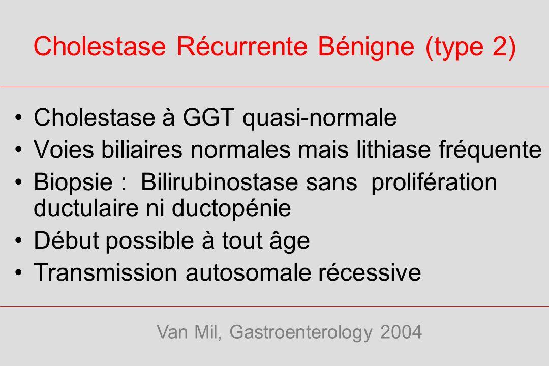 Cholestase Récurrente Bénigne (type 2) Cholestase à GGT quasi-normale Voies biliaires normales mais lithiase fréquente Biopsie : Bilirubinostase sans prolifération ductulaire ni ductopénie Début possible à tout âge Transmission autosomale récessive Van Mil, Gastroenterology 2004