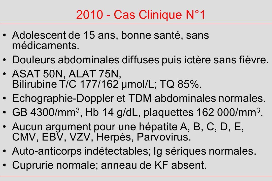 2010 - Cas Clinique N°1 Adolescent de 15 ans, bonne santé, sans médicaments. Douleurs abdominales diffuses puis ictère sans fièvre. ASAT 50N, ALAT 75N
