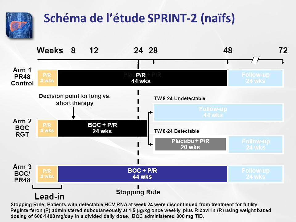 Schéma de létude SPRINT-2 (naïfs) Stopping Rule Weeks1224284872 Follow-up 24 wks TW 8-24 Undetectable Follow-up 24 wks TW 8-24 Detectable Follow-up 24 wks 8 Placebo + P/R 44 wks P/R 4 wks Follow-up 24 wks BOC + P/R 24 wks P/R 4 wks Follow-up 44 wks Placebo + P/R 20 wks BOC + P/R 44 wks P/R 4 wks Decision point for long vs.