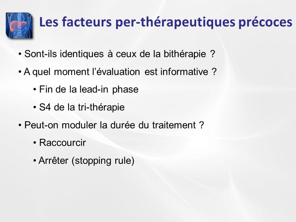 Les facteurs per-thérapeutiques précoces Sont-ils identiques à ceux de la bithérapie ? A quel moment lévaluation est informative ? Fin de la lead-in p