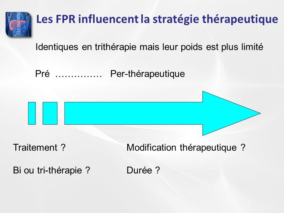 Les FPR influencent la stratégie thérapeutique Pré …………… Per-thérapeutique Traitement ?Modification thérapeutique ? Bi ou tri-thérapie ?Durée ? Identi
