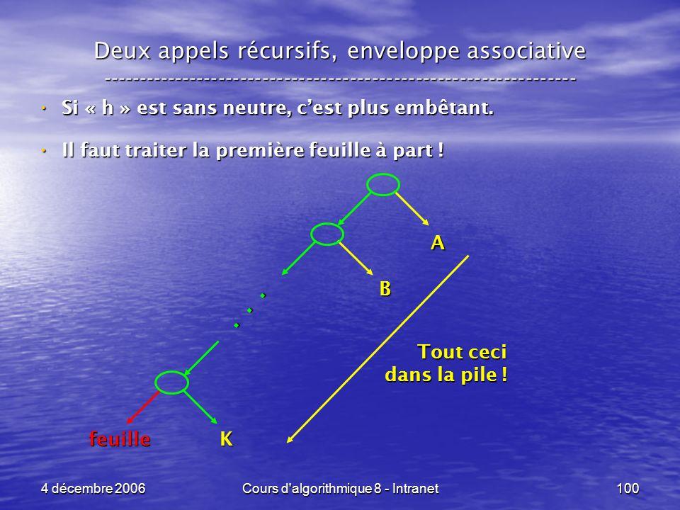 4 décembre 2006Cours d'algorithmique 8 - Intranet100 Deux appels récursifs, enveloppe associative ----------------------------------------------------