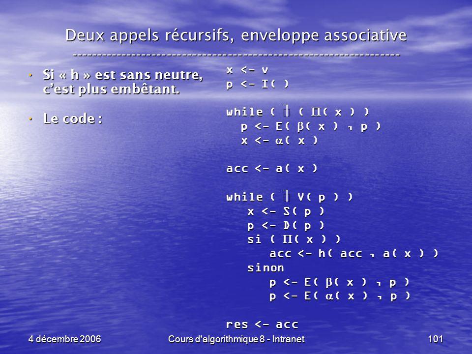 4 décembre 2006Cours d'algorithmique 8 - Intranet101 Deux appels récursifs, enveloppe associative ----------------------------------------------------