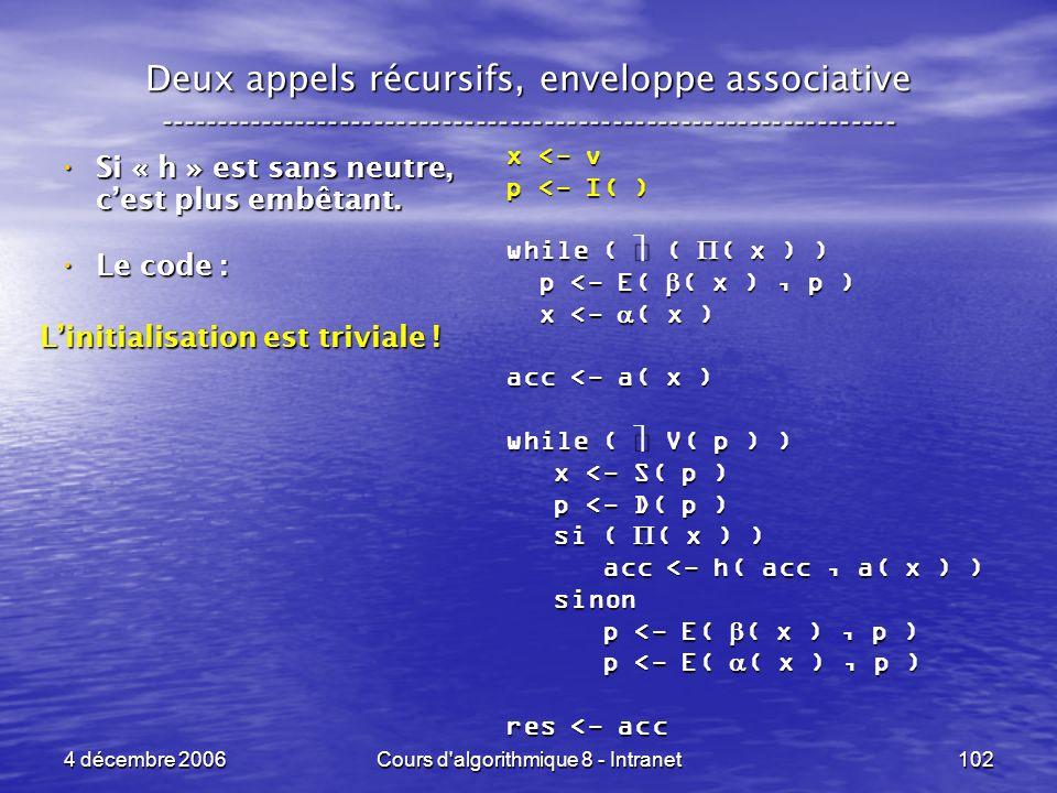 4 décembre 2006Cours d'algorithmique 8 - Intranet102 Deux appels récursifs, enveloppe associative ----------------------------------------------------
