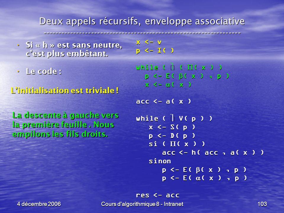 4 décembre 2006Cours d'algorithmique 8 - Intranet103 Deux appels récursifs, enveloppe associative ----------------------------------------------------
