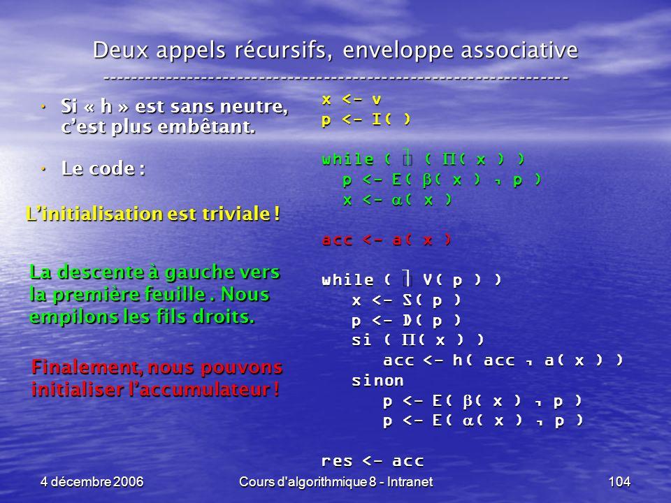 4 décembre 2006Cours d'algorithmique 8 - Intranet104 Deux appels récursifs, enveloppe associative ----------------------------------------------------