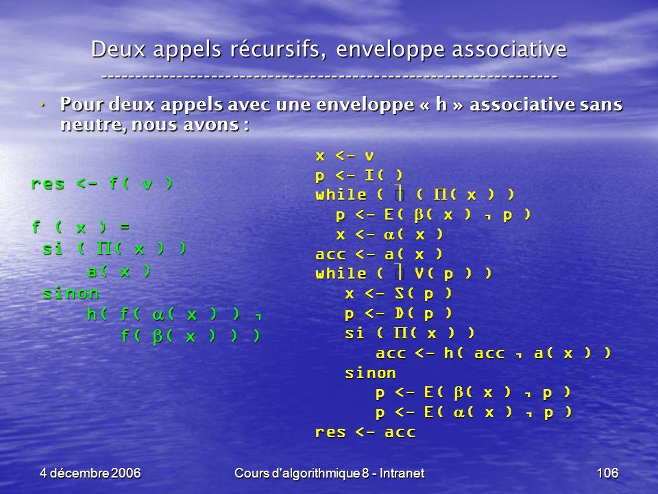 4 décembre 2006Cours d'algorithmique 8 - Intranet106 Deux appels récursifs, enveloppe associative ----------------------------------------------------