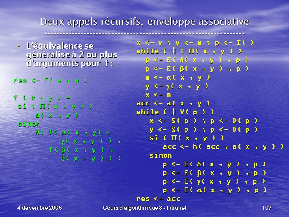 4 décembre 2006Cours d'algorithmique 8 - Intranet107 Deux appels récursifs, enveloppe associative ----------------------------------------------------