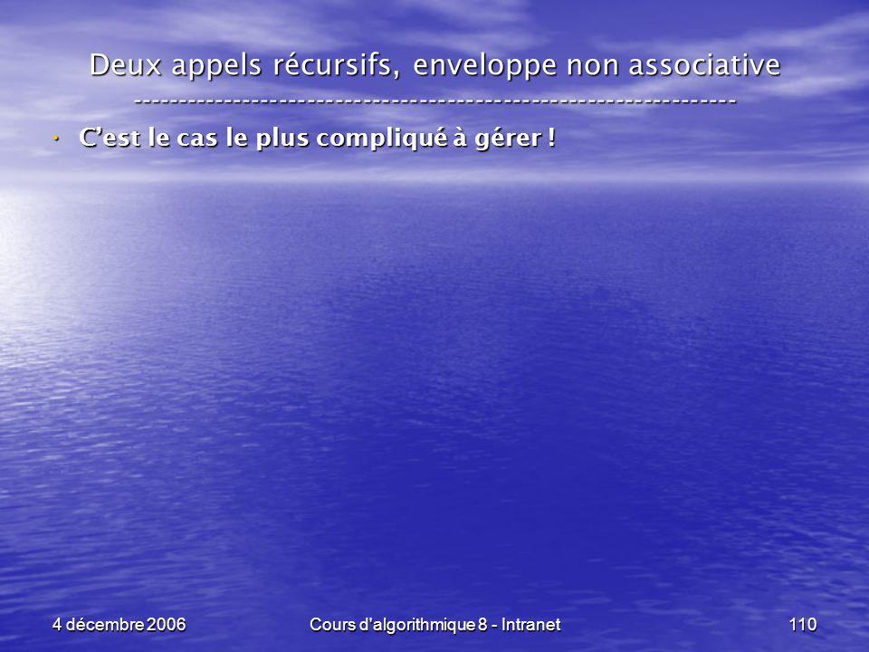 4 décembre 2006Cours d'algorithmique 8 - Intranet110 Deux appels récursifs, enveloppe non associative ------------------------------------------------