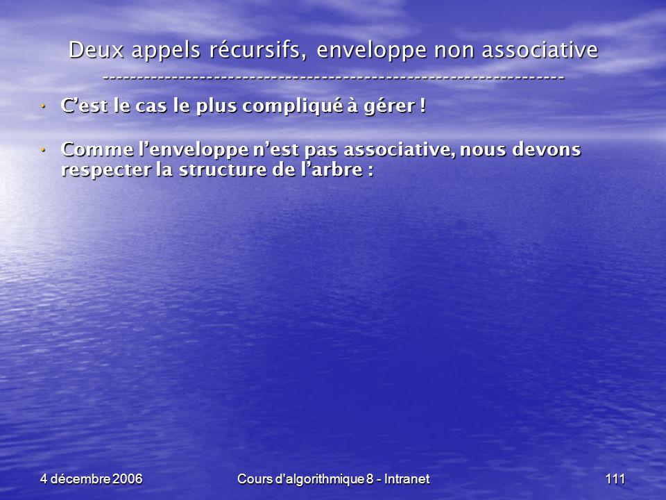 4 décembre 2006Cours d'algorithmique 8 - Intranet111 Deux appels récursifs, enveloppe non associative ------------------------------------------------