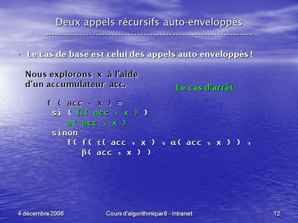 4 décembre 2006Cours d'algorithmique 8 - Intranet12 Deux appels récursifs auto-enveloppés ------------------------------------------------------------