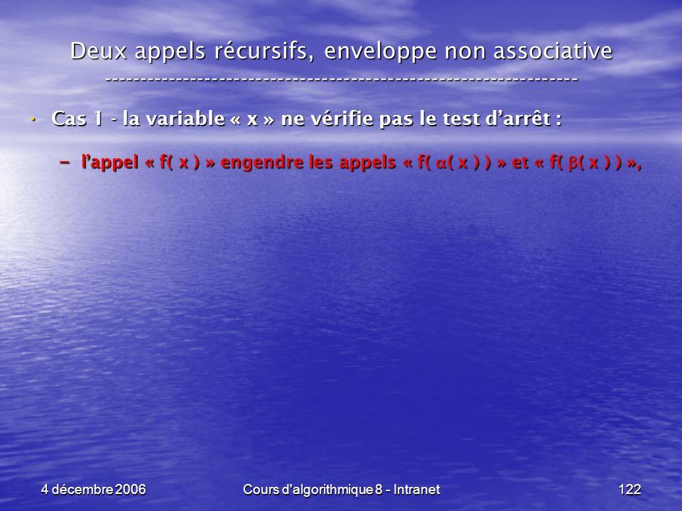 4 décembre 2006Cours d'algorithmique 8 - Intranet122 Deux appels récursifs, enveloppe non associative ------------------------------------------------