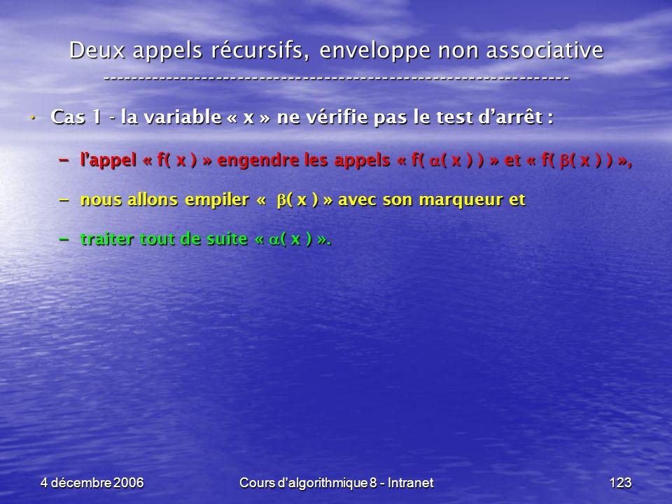 4 décembre 2006Cours d'algorithmique 8 - Intranet123 Deux appels récursifs, enveloppe non associative ------------------------------------------------
