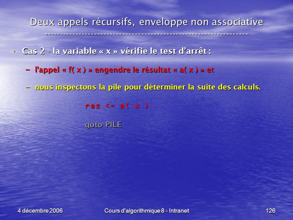 4 décembre 2006Cours d'algorithmique 8 - Intranet126 Deux appels récursifs, enveloppe non associative ------------------------------------------------