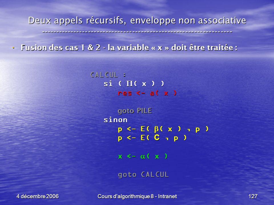 4 décembre 2006Cours d'algorithmique 8 - Intranet127 Deux appels récursifs, enveloppe non associative ------------------------------------------------