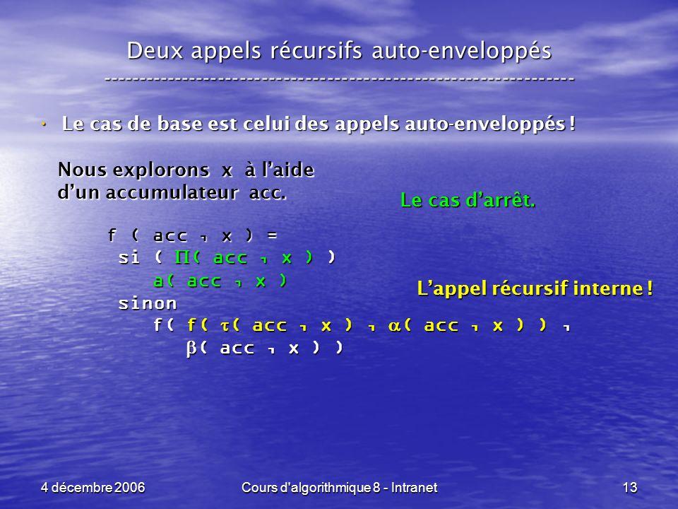 4 décembre 2006Cours d'algorithmique 8 - Intranet13 Deux appels récursifs auto-enveloppés ------------------------------------------------------------
