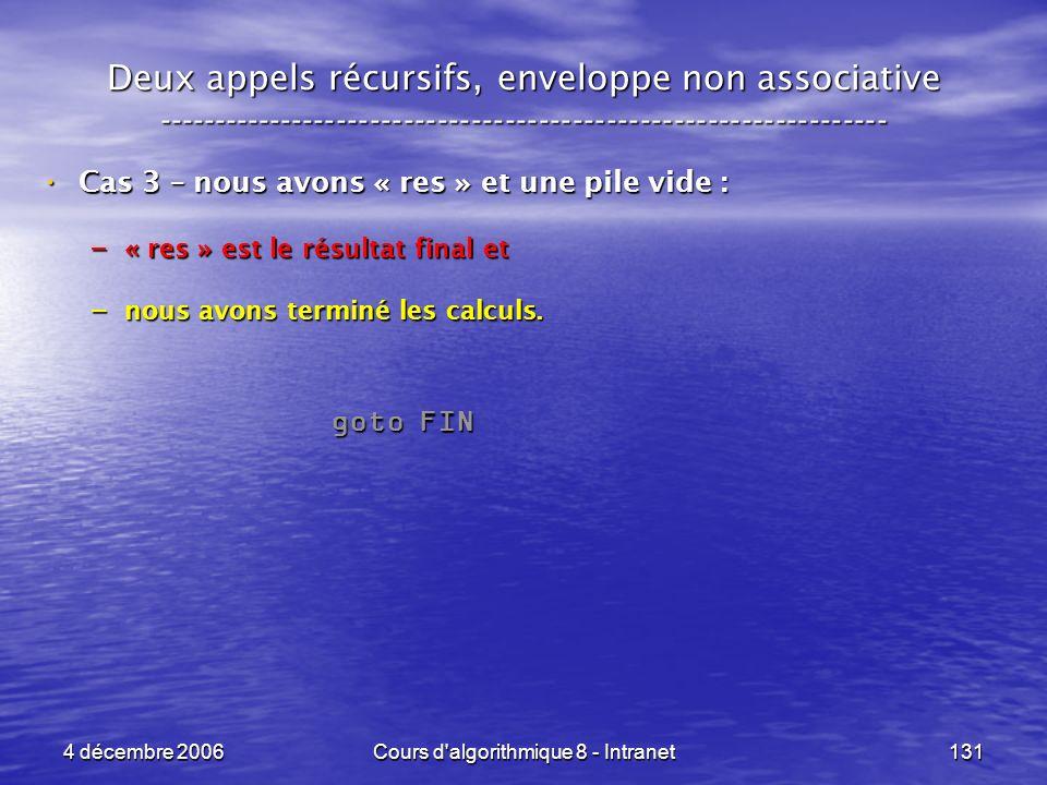 4 décembre 2006Cours d'algorithmique 8 - Intranet131 Deux appels récursifs, enveloppe non associative ------------------------------------------------