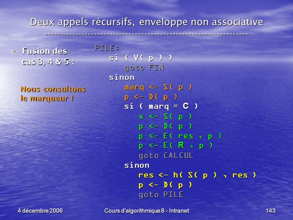 4 décembre 2006Cours d'algorithmique 8 - Intranet143 Deux appels récursifs, enveloppe non associative ------------------------------------------------
