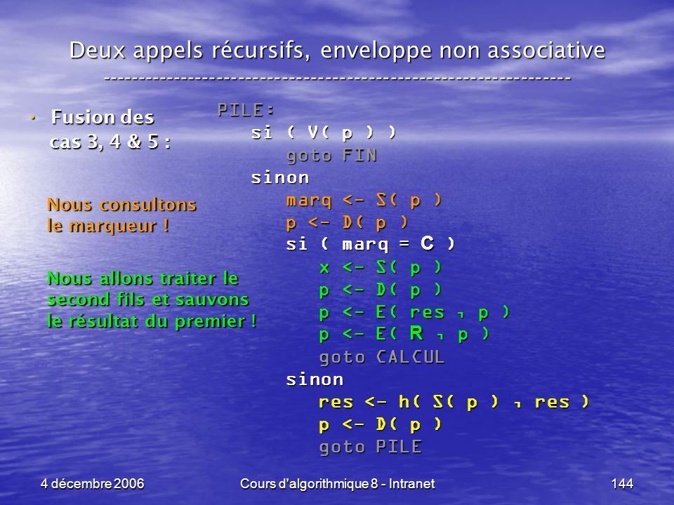 4 décembre 2006Cours d'algorithmique 8 - Intranet144 Deux appels récursifs, enveloppe non associative ------------------------------------------------