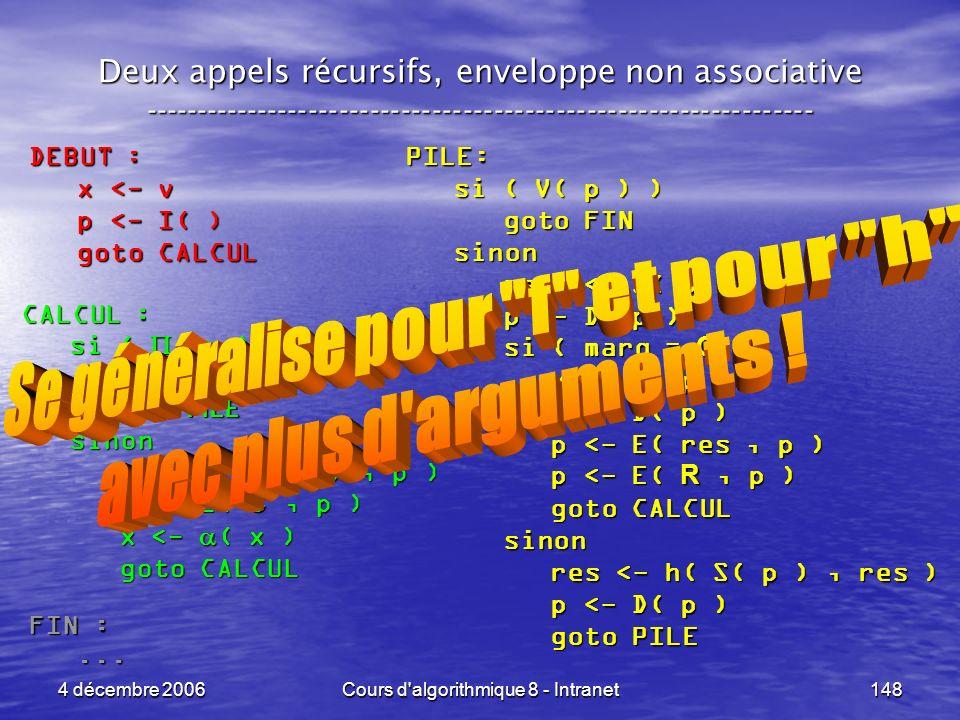 4 décembre 2006Cours d'algorithmique 8 - Intranet148 Deux appels récursifs, enveloppe non associative ------------------------------------------------