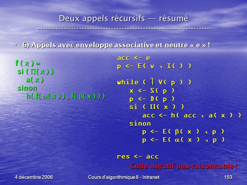 4 décembre 2006Cours d'algorithmique 8 - Intranet153 Deux appels récursifs --- résumé ----------------------------------------------------------------