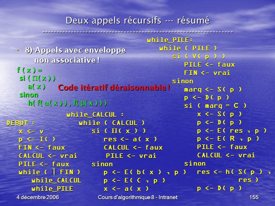 4 décembre 2006Cours d'algorithmique 8 - Intranet155 Deux appels récursifs --- résumé ----------------------------------------------------------------
