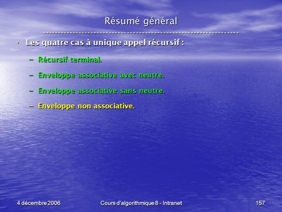 4 décembre 2006Cours d'algorithmique 8 - Intranet157 Les quatre cas à unique appel récursif : Les quatre cas à unique appel récursif : – Récursif term